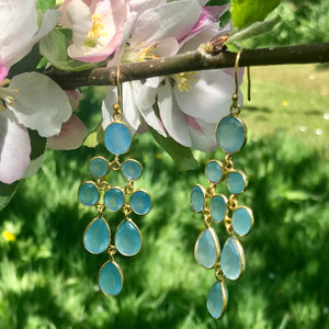 Waterfall Earring in Gold with Light Blue Chalcedony