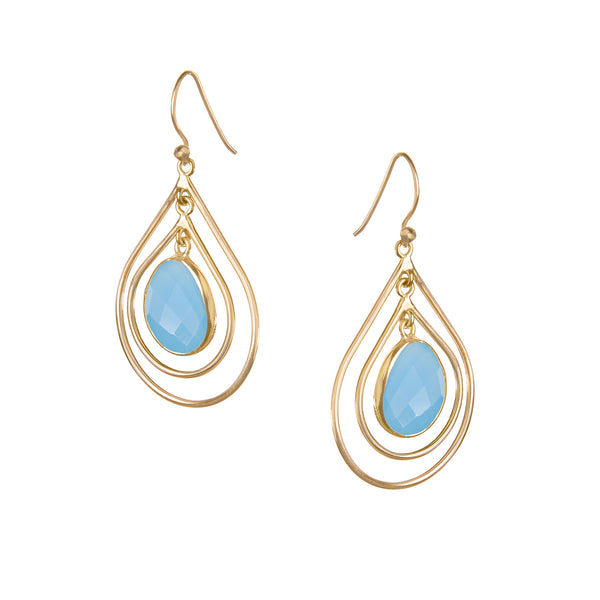 Lolita Earring in Gold with Blue Chalcedony
