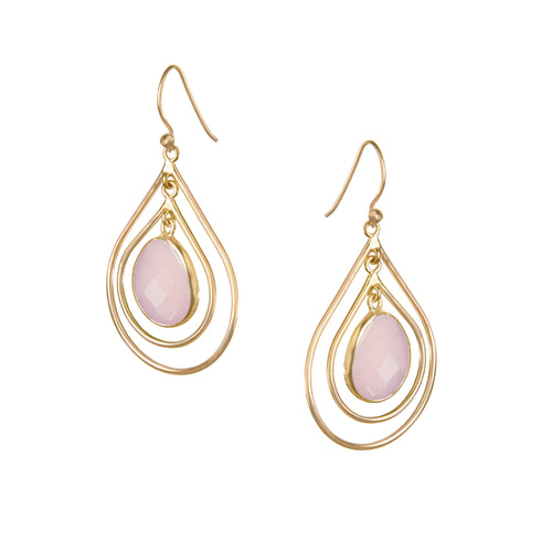 Lolita Earring in Gold with Pink Chalcedony