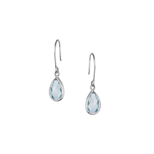 Tear Drop Earring in Silver with Blue Topaz
