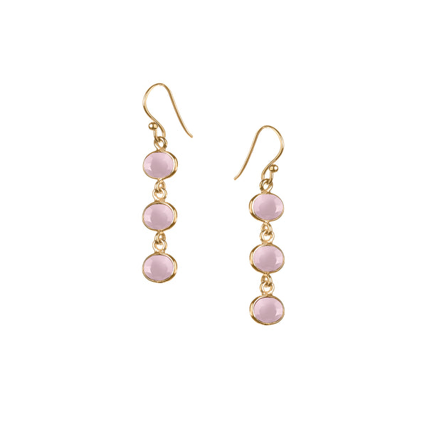 Trellis Earring in Gold with Pink Chalcedony