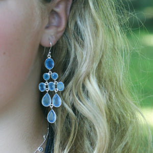 Waterfall Earring in Silver with Light Blue Chalcedony