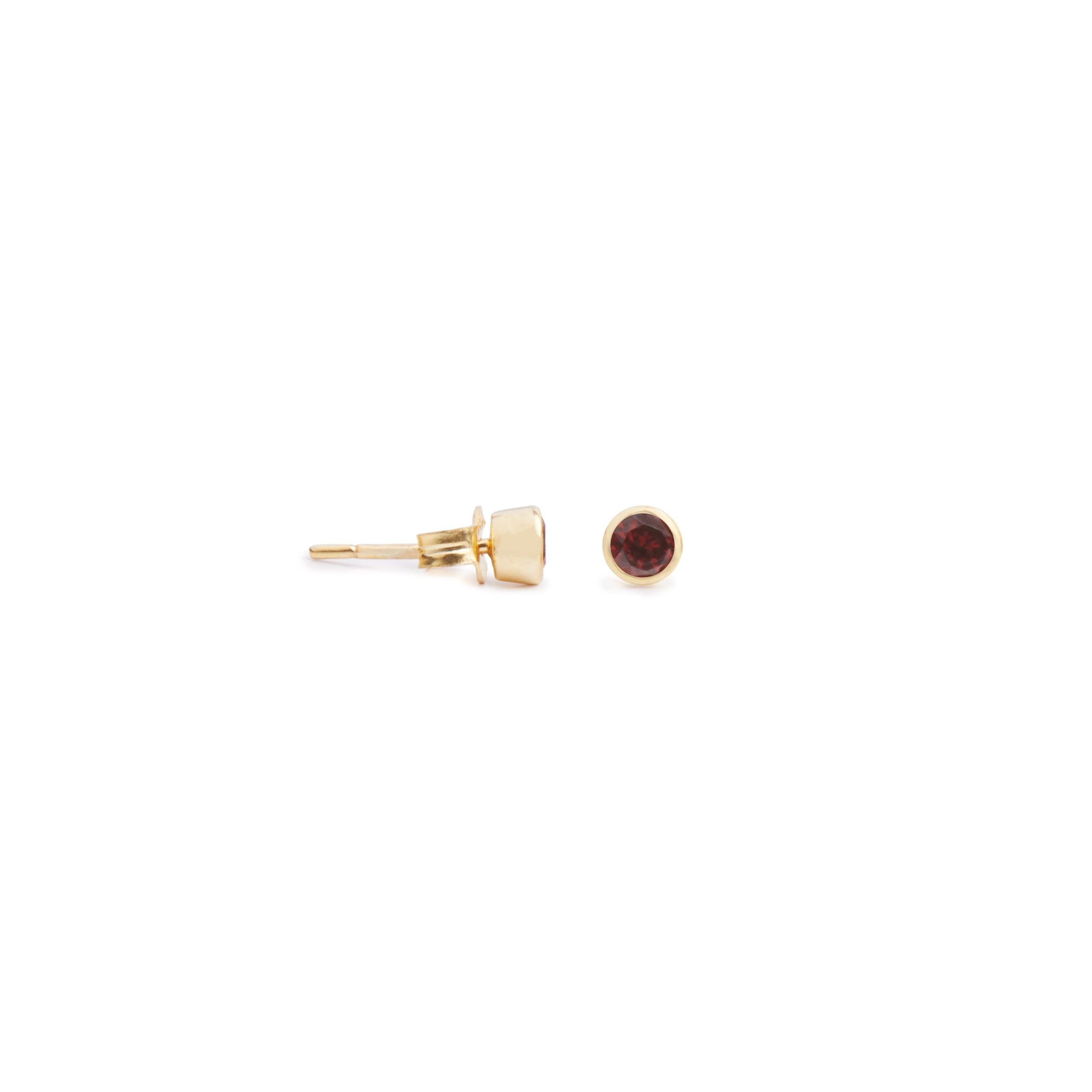 Acer Ear Stud in Gold with Garnet