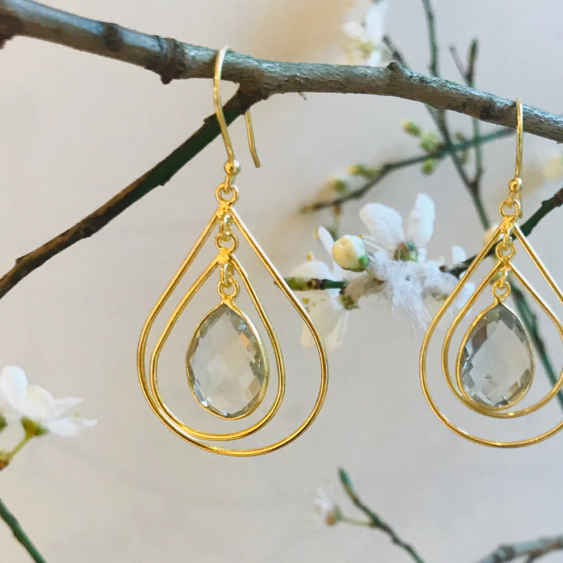 Lolita Earring in Gold with Green Amethyst