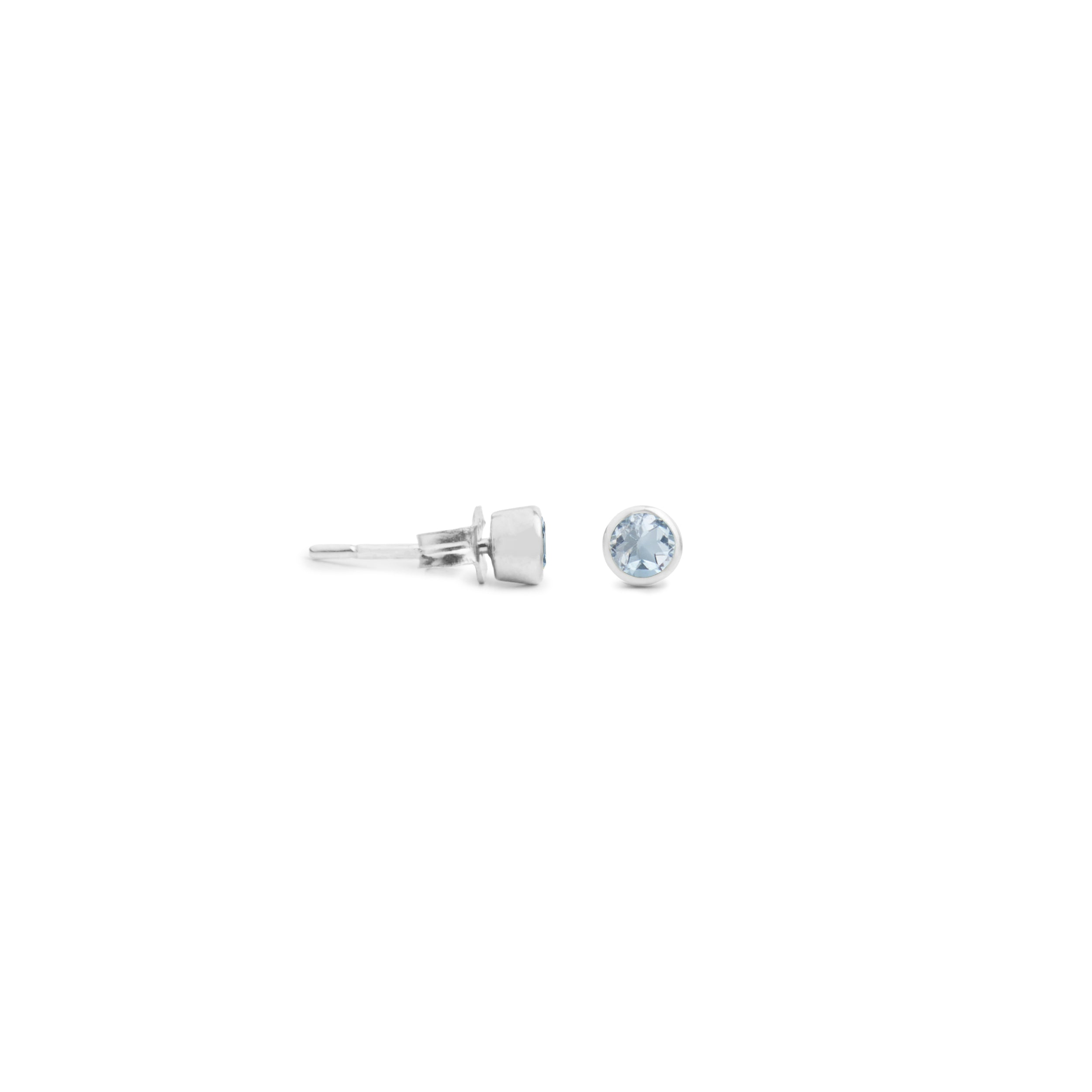 Acer Ear Stud in Silver with Blue Topaz