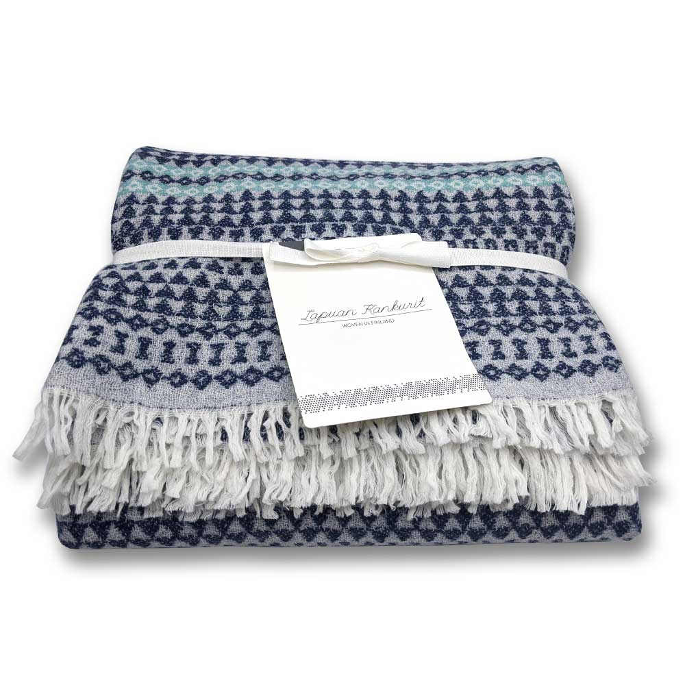 Lightweight wool throw - Blueberry and Turquoise - Clare Laughland at Home