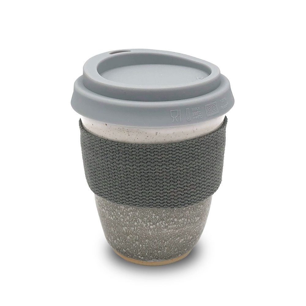 Stoneware reusable cup - Misty grey & grey band - Clare Laughland at Home