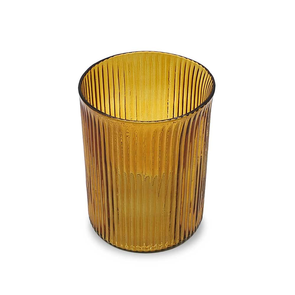 Ribbed Hurricane Glass Vintage Amber - large