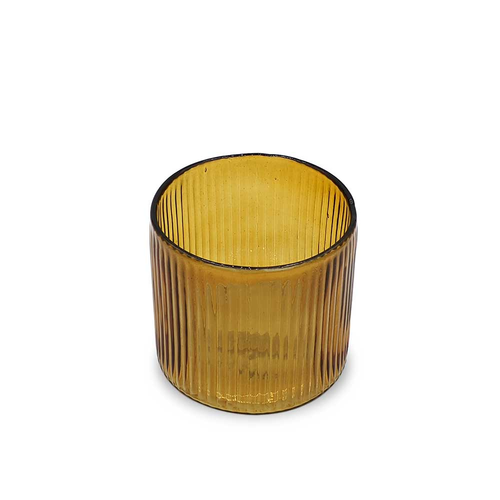 Ribbed Hurricane Glass Vintage Amber - small
