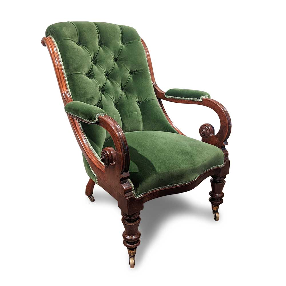 Victorian open armchair in green velvet