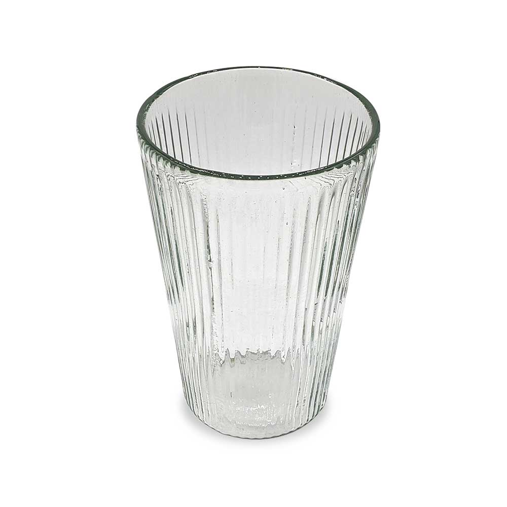 Ribbed Artisan Glass Vase Clear