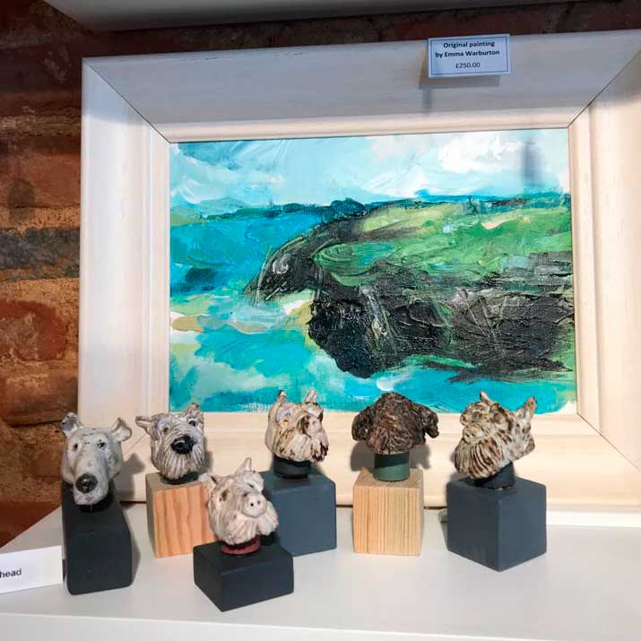 Ceramic dog heads - Clare Laughland at Home
