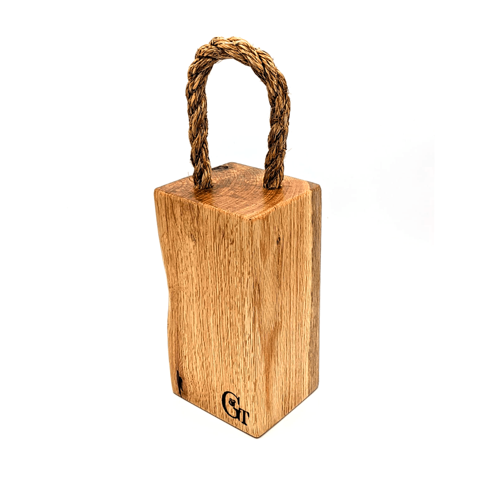 Solid Oak Door Stop, square with rope - Clare Laughland at Home