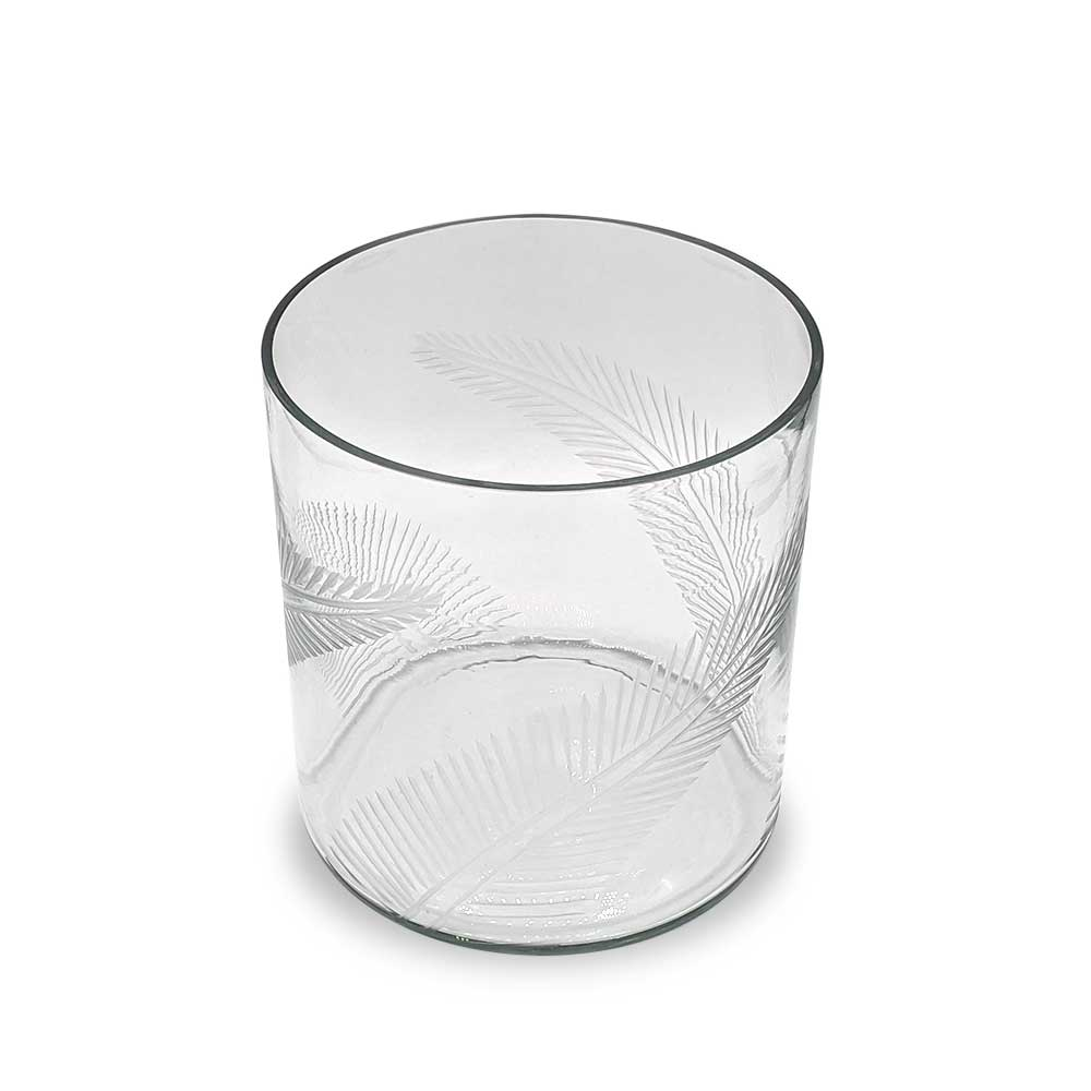 Hurricane Glass Etched Fern Leaf
