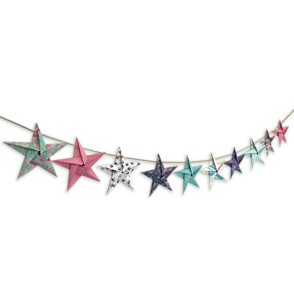 Origami star garland - mixed designs