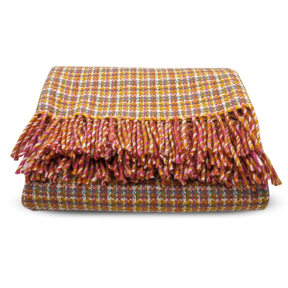 Wool throw - Festival Pink/Orange - Clare Laughland at Home