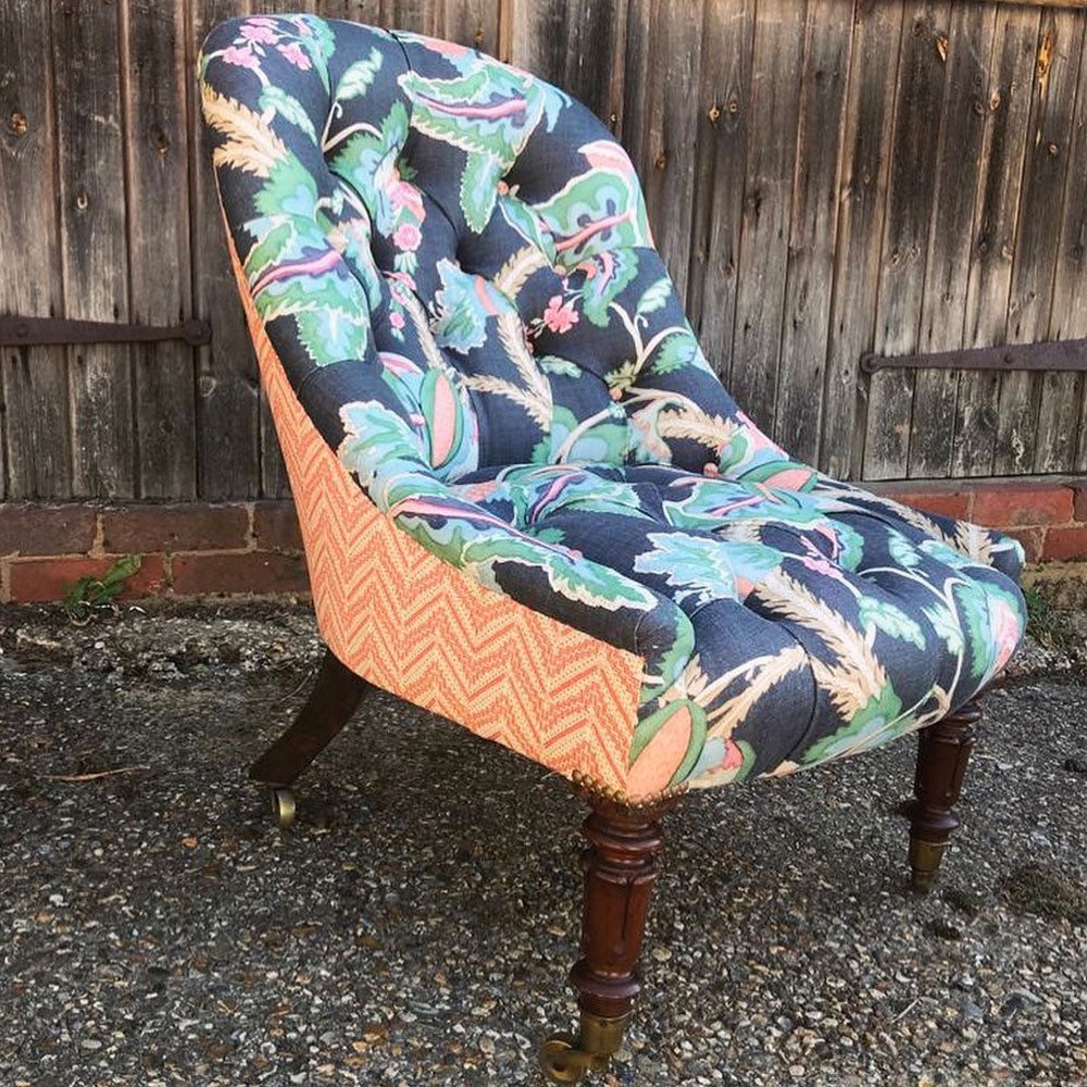 Mid-Victorian rosewood buttoned armchair with tulip turned legs - Clare Laughland at Home