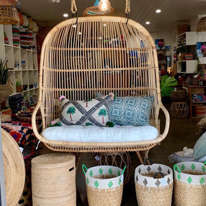 Cane 'love seat' hanging chair
