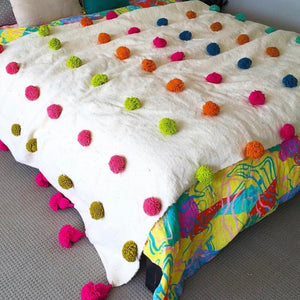 Moroccan Pompom Throw - multi