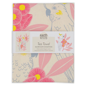 Earth Greetings Tea Towel- silver gum cockatoos