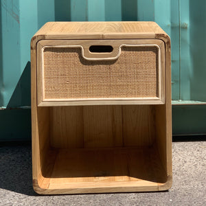 Timber & Rattan Bedside Table