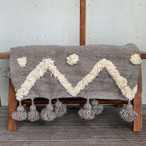 Moroccan Tufty Throw - grey