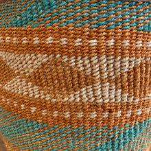 Kenyan sisal & leather basket - large