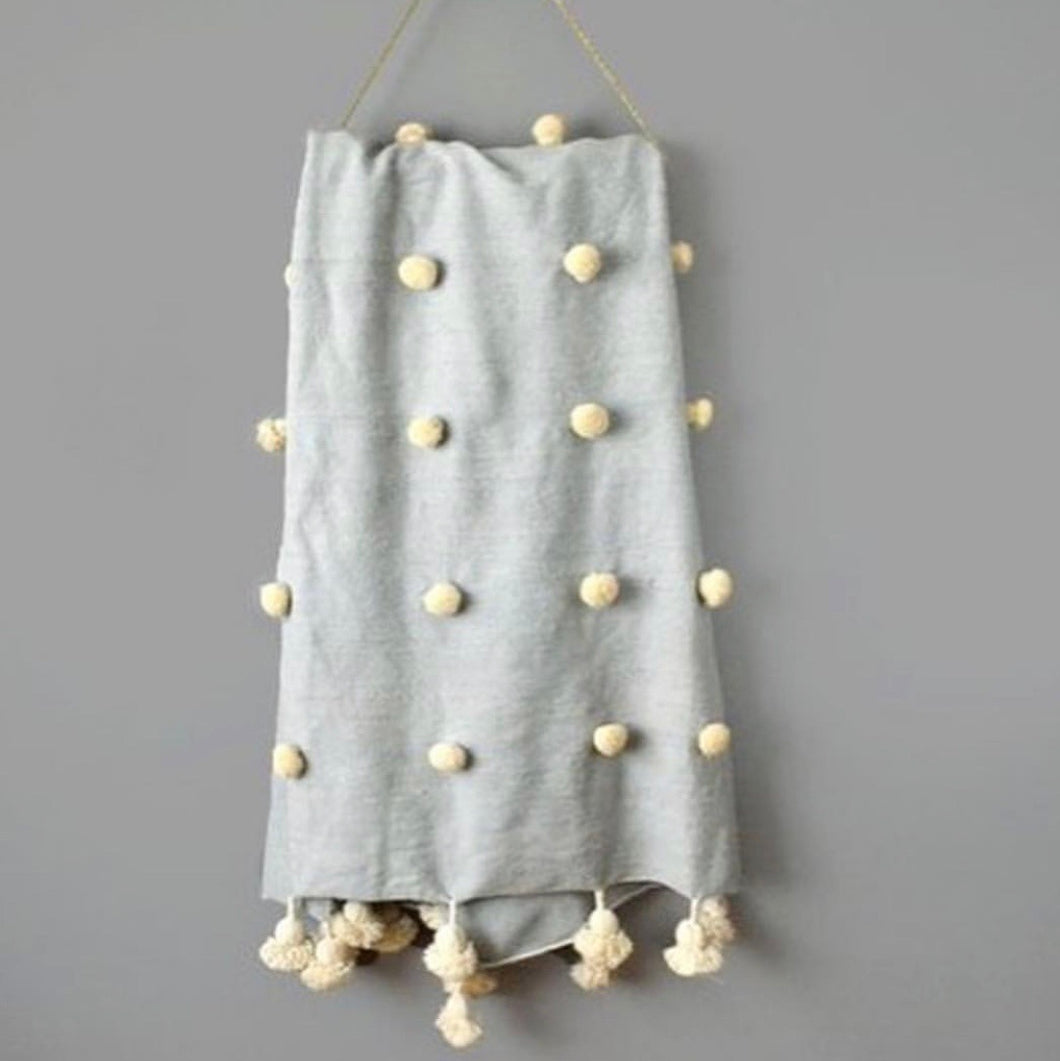 Moroccan Pompom Throw - duck egg blue/natural