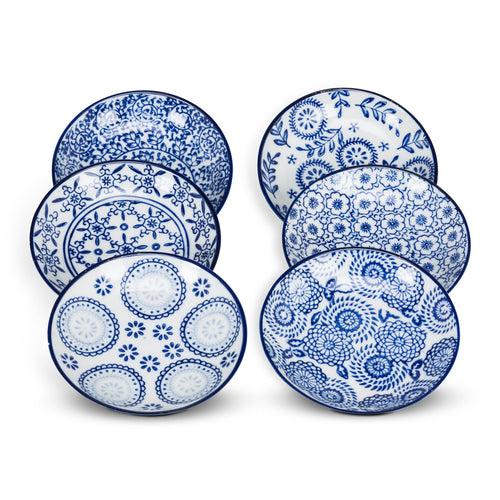 Blue and White  Round Dish Set (Set of 6)