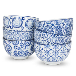 Blue and White Deep Bowls (Set of 6)