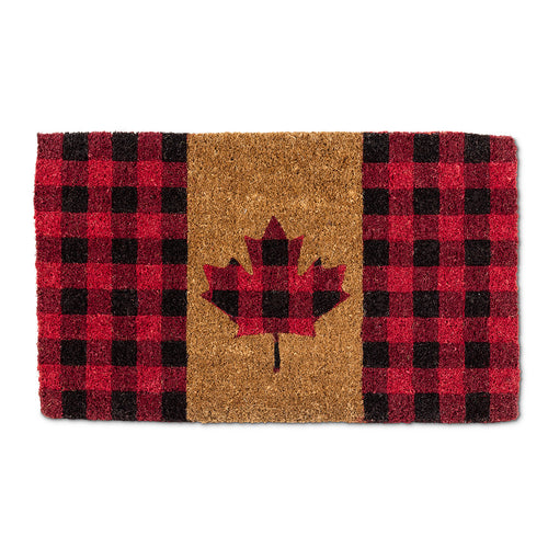 Canada Flag Doormat in Buffalo Check