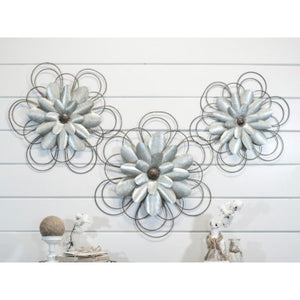 Metal Wall Flowers (Set of 3)