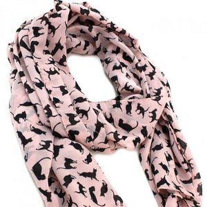 Chic Cat-printed Scarf