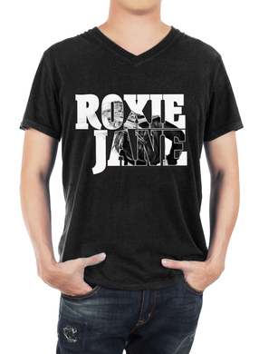 T-SHIRT Black-V-neck Men's ( Roxie Jane picture shirt)
