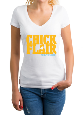 T-SHIRT White 2 color women's v-neck shirt (Chick Flair)
