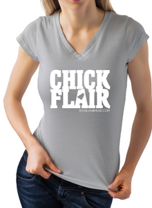 T-SHIRT Grey 1 color v-neck women's shirt (Chick Flair)