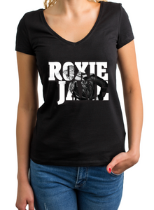 T-SHIRT Black-V-neck Women's (Roxie Jane picture shirt)