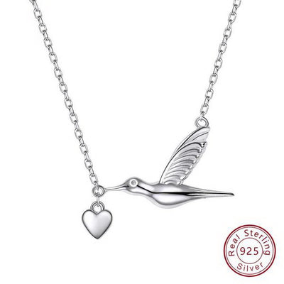 Silver Chain Necklace Bird Carrying Love