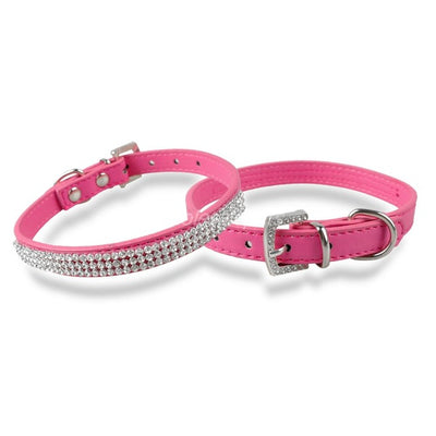 Dazzling Crystallized Leather Dog Collar