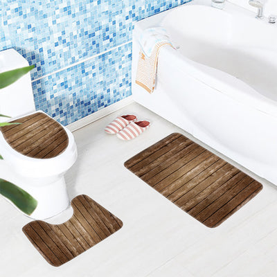 3 Piece Non Slip Bath Mat Toilet Rug Set