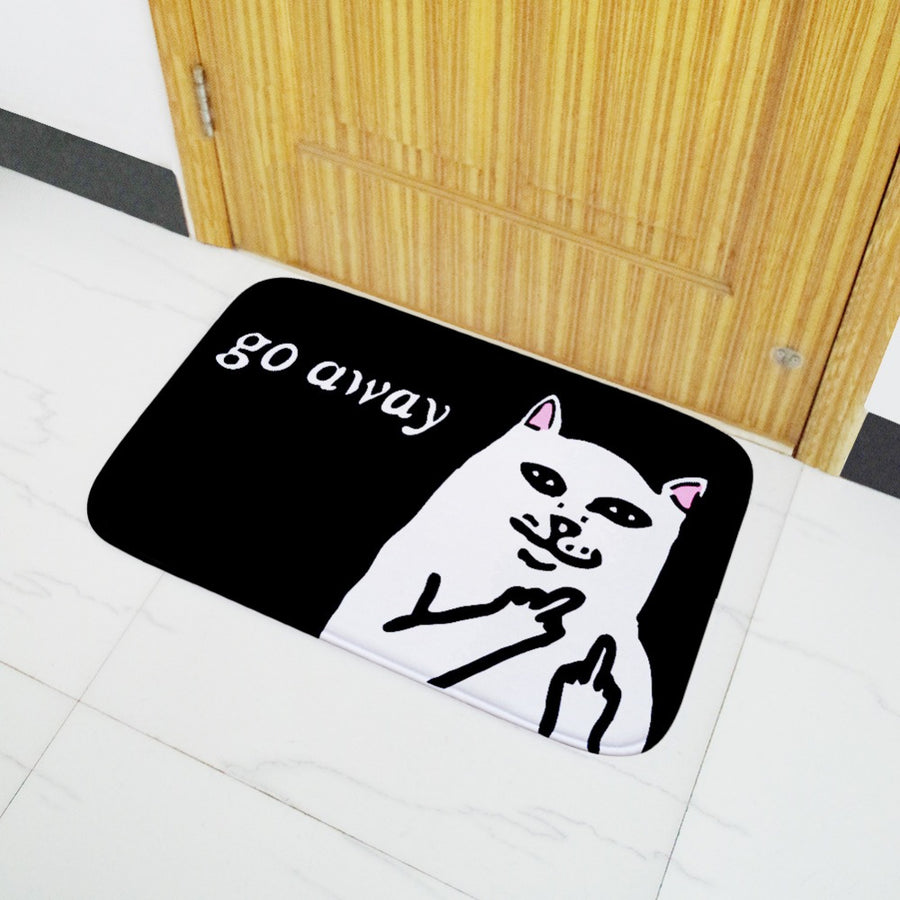 Middle Finger Cat Welcome Mat