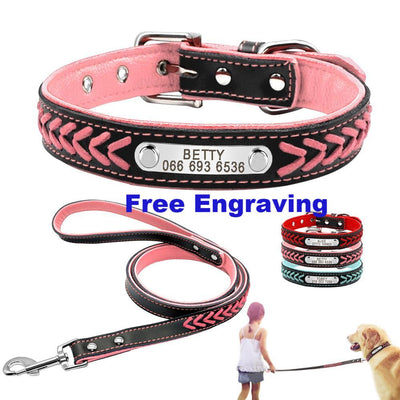 Personalized Dog Collars & Leash Set