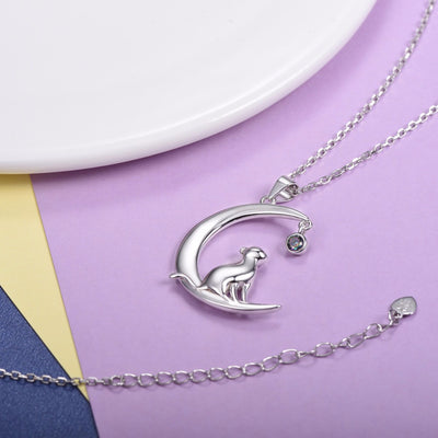 Silver Chain Necklace Cat On The Moon