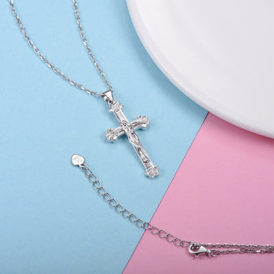 Silver Chain Necklace Cross of Jesus