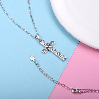 Silver Chain Necklace Diamond Cross