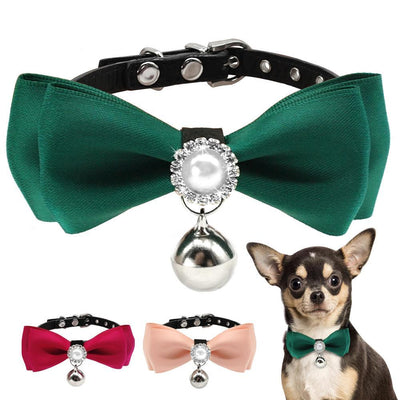 Ritzy Pearl Bow Tie Dog Collar