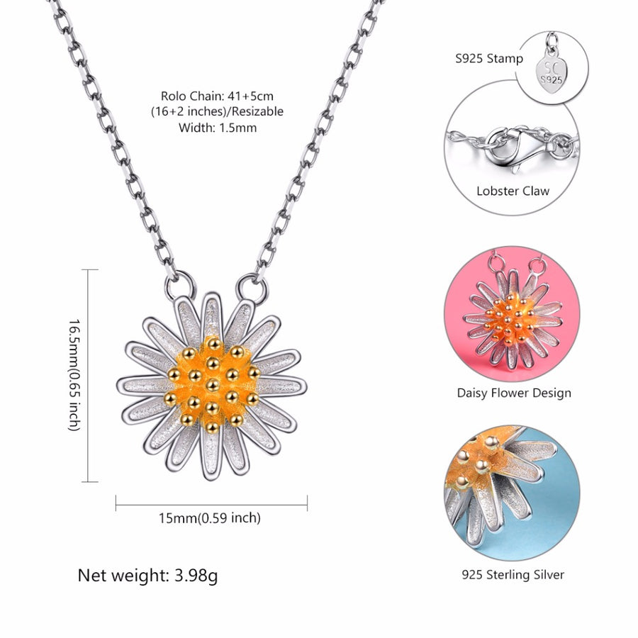 Silver Chain Necklace Daisy