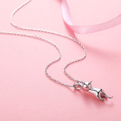 Silver Chain Necklace Hanging Cat
