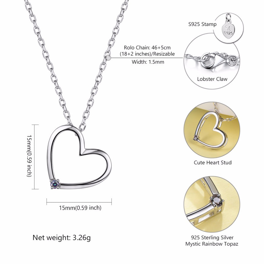 Silver Chain Necklace Love Heart