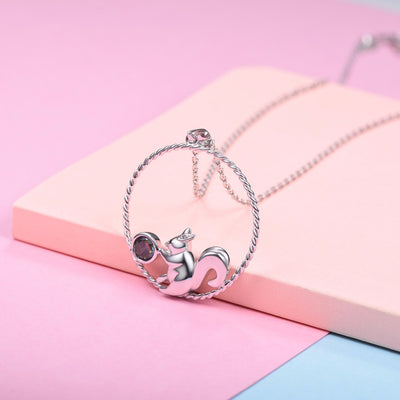 Silver Chain Necklace Squirrel